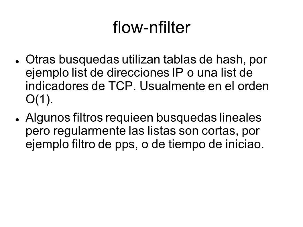 flow-nfilter Otras busquedas utilizan tablas de hash, por ejemplo list de direcciones IP o una list de indicadores de TCP. Usualmente en el orden O(1)