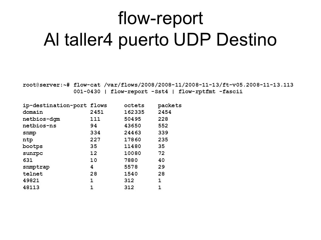 flow-report Al taller4 puerto UDP Destino root@server:~# flow-cat /var/flows/2008/2008-11/2008-11-13/ft-v05.2008-11-13.113 001-0430 | flow-report -Sst4 | flow-rptfmt -fascii ip-destination-port flows octets packets domain 2451 162335 2454 netbios-dgm 111 50495 228 netbios-ns 94 43650 552 snmp 334 24463 339 ntp 227 17860 235 bootps 35 11480 35 sunrpc 12 10080 72 631 10 7880 40 snmptrap 4 5578 29 telnet 28 1540 28 49821 1 312 1 48113 1 312 1