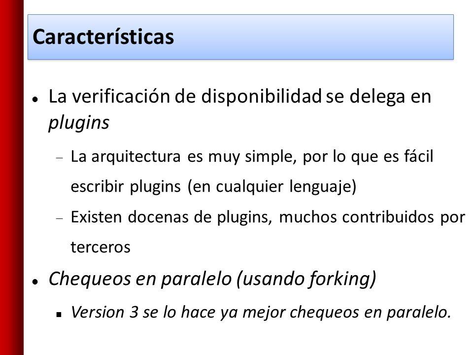 Características La verificación de disponibilidad se delega en plugins La arquitectura es muy simple, por lo que es fácil escribir plugins (en cualqui