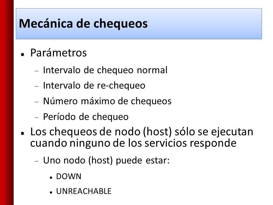Mecánica de chequeos Parámetros Intervalo de chequeo normal Intervalo de re-chequeo Número máximo de chequeos Período de chequeo Los chequeos de nodo