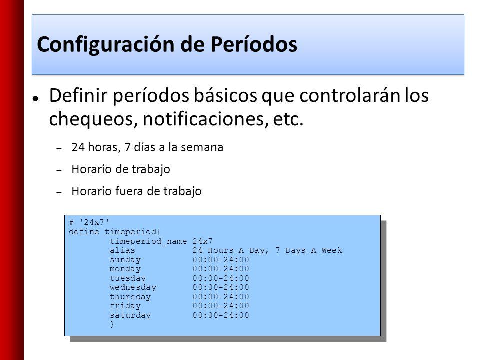 Configuración de Períodos # '24x7' define timeperiod{ timeperiod_name 24x7 alias 24 Hours A Day, 7 Days A Week sunday 00:00-24:00 monday 00:00-24:00 t