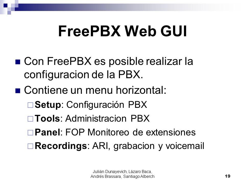 Julián Dunayevich, Lázaro Baca, Andrés Brassara, Santiago Alberch19 FreePBX Web GUI Con FreePBX es posible realizar la configuracion de la PBX.