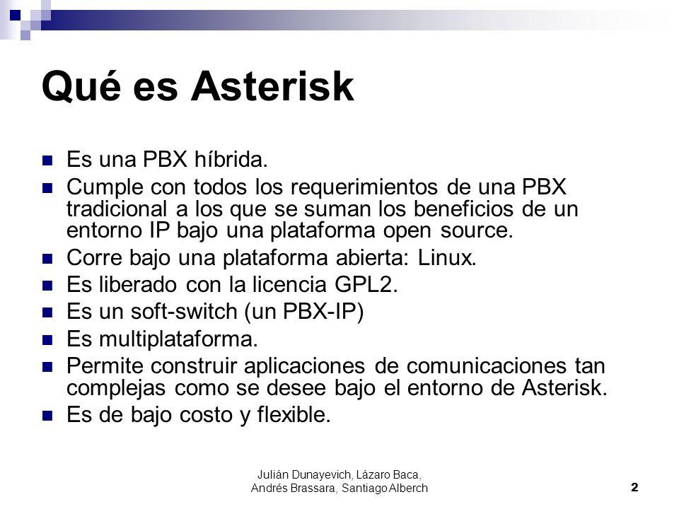 Julián Dunayevich, Lázaro Baca, Andrés Brassara, Santiago Alberch2 Qué es Asterisk Es una PBX híbrida.