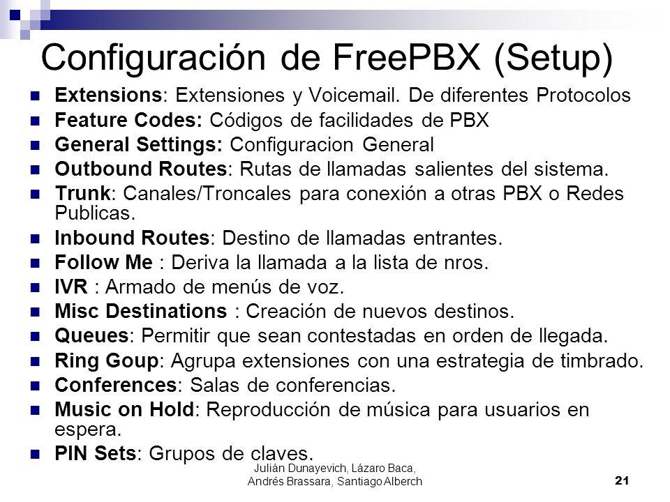Julián Dunayevich, Lázaro Baca, Andrés Brassara, Santiago Alberch21 Configuración de FreePBX (Setup) Extensions: Extensiones y Voicemail.