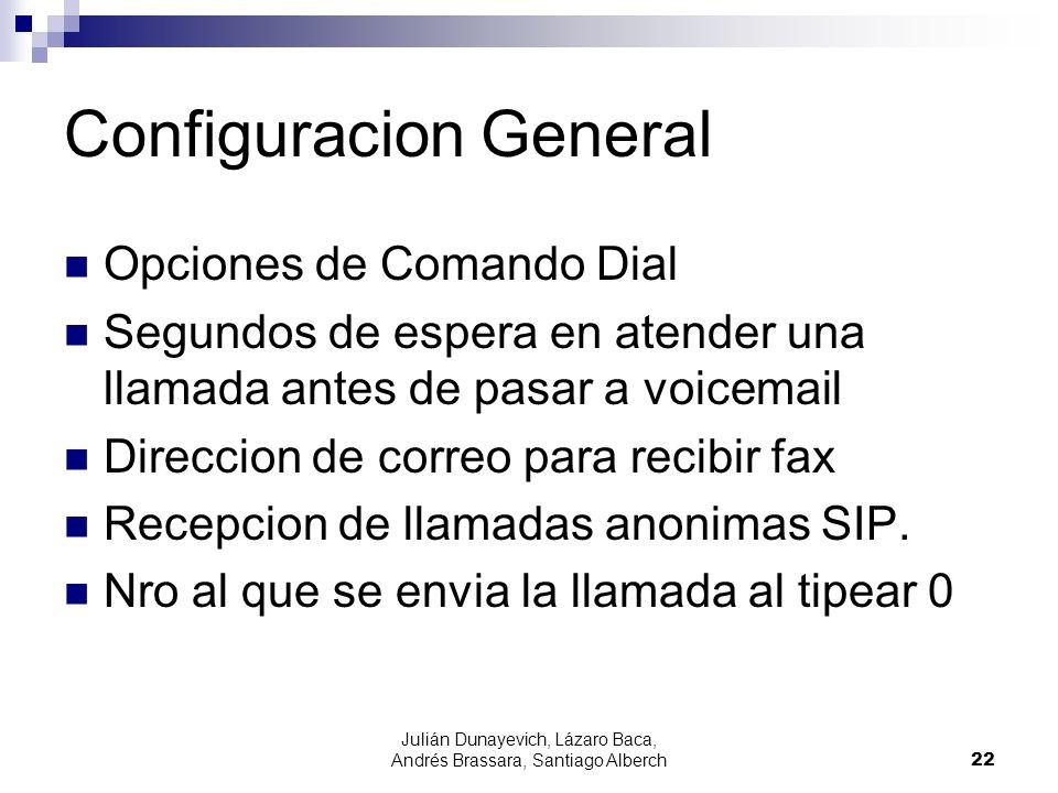 Julián Dunayevich, Lázaro Baca, Andrés Brassara, Santiago Alberch22 Configuracion General Opciones de Comando Dial Segundos de espera en atender una llamada antes de pasar a voicemail Direccion de correo para recibir fax Recepcion de llamadas anonimas SIP.