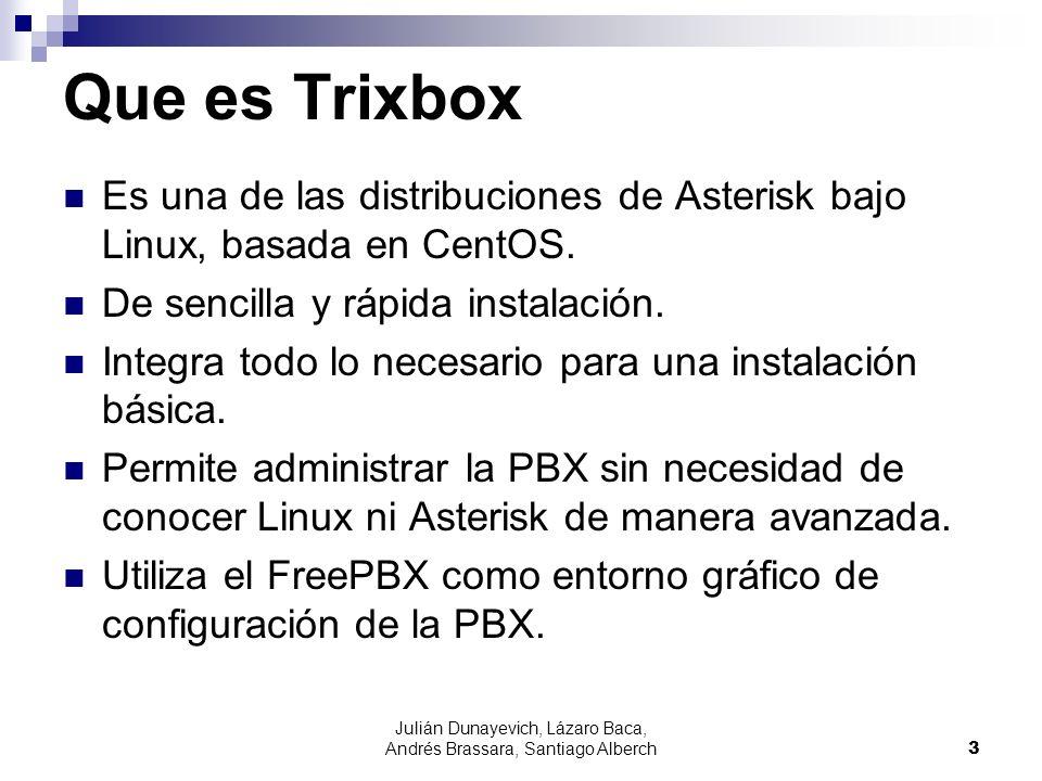 Julián Dunayevich, Lázaro Baca, Andrés Brassara, Santiago Alberch3 Que es Trixbox Es una de las distribuciones de Asterisk bajo Linux, basada en CentOS.