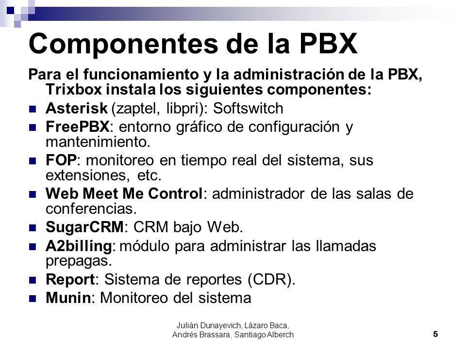 Julián Dunayevich, Lázaro Baca, Andrés Brassara, Santiago Alberch5 Componentes de la PBX Para el funcionamiento y la administración de la PBX, Trixbox instala los siguientes componentes: Asterisk (zaptel, libpri): Softswitch FreePBX: entorno gráfico de configuración y mantenimiento.