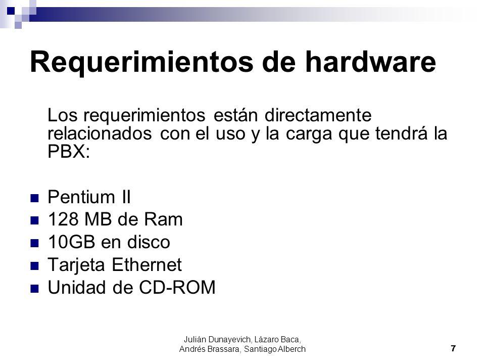 Julián Dunayevich, Lázaro Baca, Andrés Brassara, Santiago Alberch7 Requerimientos de hardware Los requerimientos están directamente relacionados con el uso y la carga que tendrá la PBX: Pentium II 128 MB de Ram 10GB en disco Tarjeta Ethernet Unidad de CD-ROM