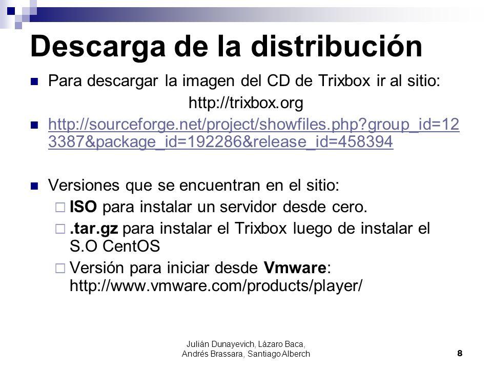 Julián Dunayevich, Lázaro Baca, Andrés Brassara, Santiago Alberch8 Descarga de la distribución Para descargar la imagen del CD de Trixbox ir al sitio: http://trixbox.org http://sourceforge.net/project/showfiles.php?group_id=12 3387&package_id=192286&release_id=458394 http://sourceforge.net/project/showfiles.php?group_id=12 3387&package_id=192286&release_id=458394 Versiones que se encuentran en el sitio: ISO para instalar un servidor desde cero..tar.gz para instalar el Trixbox luego de instalar el S.O CentOS Versión para iniciar desde Vmware: http://www.vmware.com/products/player/