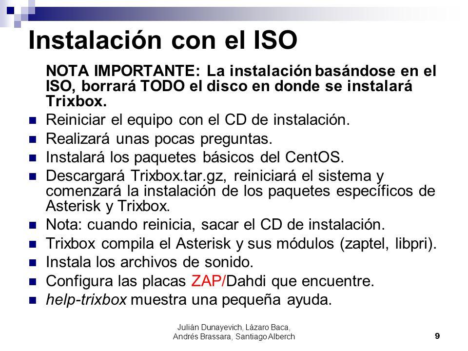 Julián Dunayevich, Lázaro Baca, Andrés Brassara, Santiago Alberch9 Instalación con el ISO NOTA IMPORTANTE: La instalación basándose en el ISO, borrará TODO el disco en donde se instalará Trixbox.