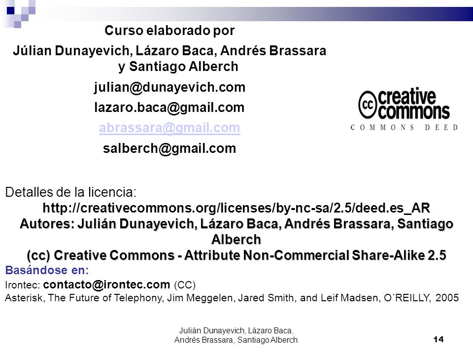 Julián Dunayevich, Lázaro Baca, Andrés Brassara, Santiago Alberch14 Curso elaborado por Júlian Dunayevich, Lázaro Baca, Andrés Brassara y Santiago Alb