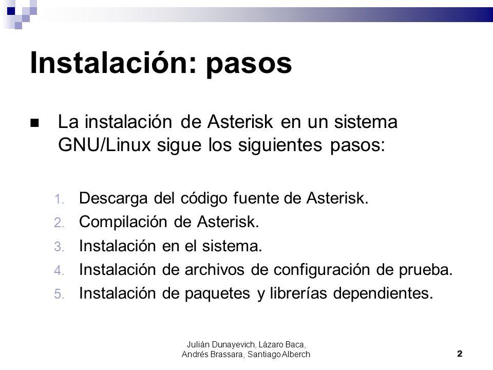 Julián Dunayevich, Lázaro Baca, Andrés Brassara, Santiago Alberch2 Instalación: pasos La instalación de Asterisk en un sistema GNU/Linux sigue los sig