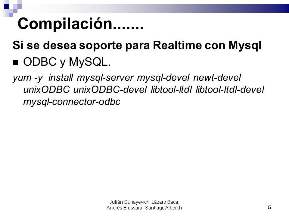 Julián Dunayevich, Lázaro Baca, Andrés Brassara, Santiago Alberch5 Compilación....... Si se desea soporte para Realtime con Mysql ODBC y MySQL. yum -y