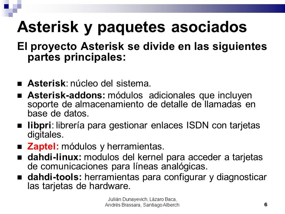 Julián Dunayevich, Lázaro Baca, Andrés Brassara, Santiago Alberch6 Asterisk y paquetes asociados El proyecto Asterisk se divide en las siguientes part
