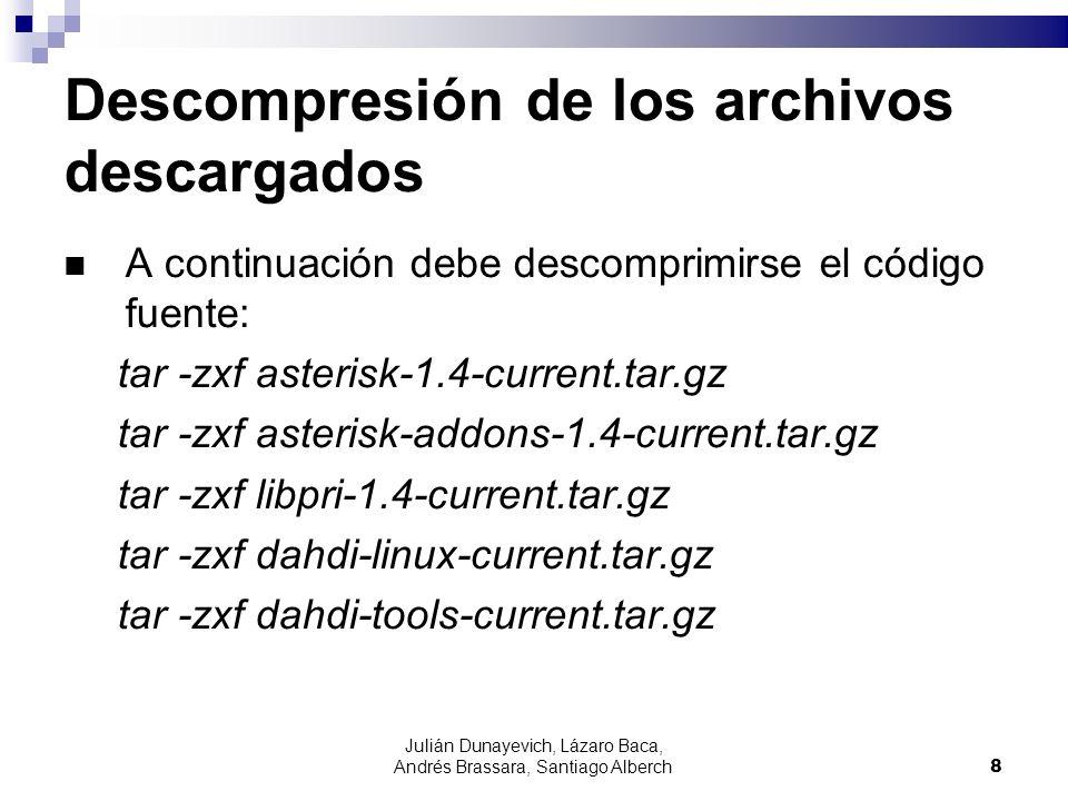 Julián Dunayevich, Lázaro Baca, Andrés Brassara, Santiago Alberch8 Descompresión de los archivos descargados A continuación debe descomprimirse el cód