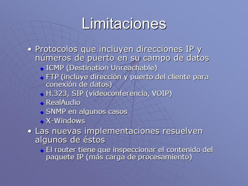Limitaciones Protocolos que incluyen direcciones IP y números de puerto en su campo de datosProtocolos que incluyen direcciones IP y números de puerto
