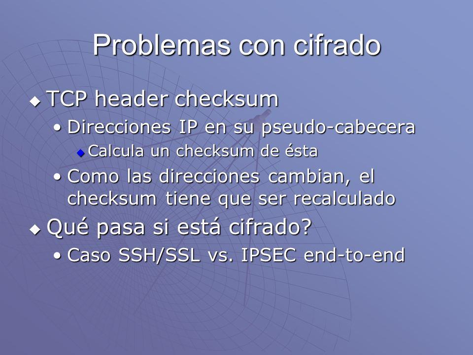 Problemas con cifrado TCP header checksum TCP header checksum Direcciones IP en su pseudo-cabeceraDirecciones IP en su pseudo-cabecera Calcula un chec