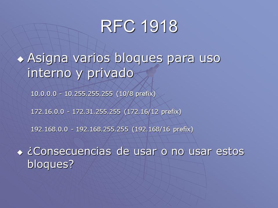 RFC 1918 Asigna varios bloques para uso interno y privado Asigna varios bloques para uso interno y privado 10.0.0.0 - 10.255.255.255 (10/8 prefix) 172
