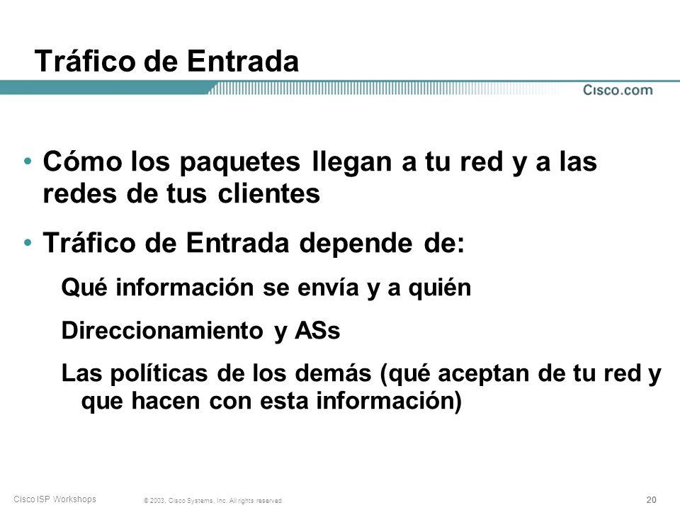 19 © 2003, Cisco Systems, Inc. All rights reserved. Cisco ISP Workshops Tráfico de Salida Cómo los paquetes salen de la red Tráfico de Salida depende