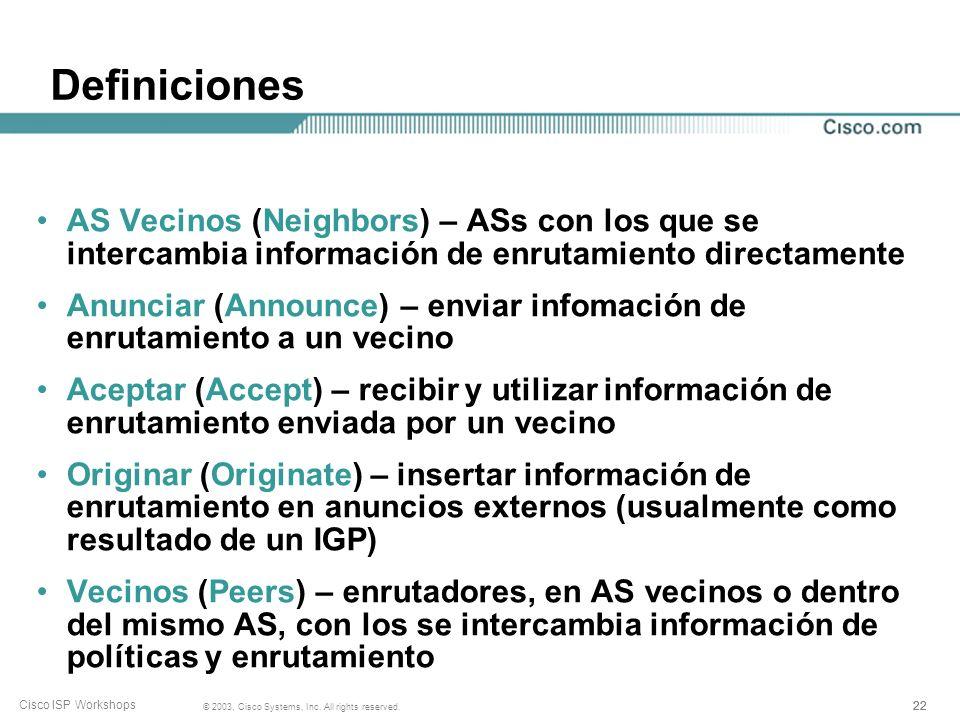 21 © 2003, Cisco Systems, Inc. All rights reserved. Cisco ISP Workshops Sistema Autónomo (AS) Conjunto de redes con políticas de enrutamiento comunes
