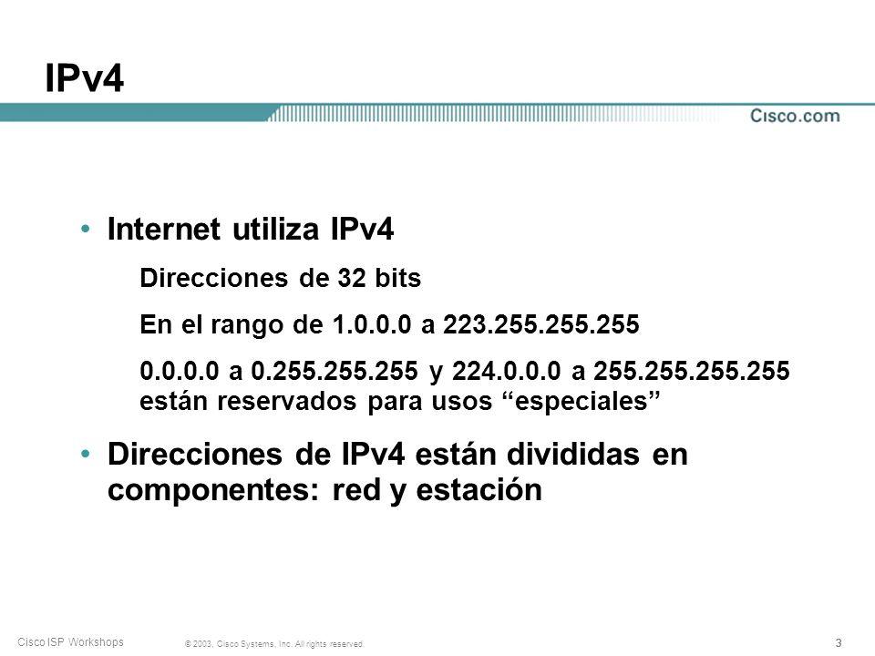 222 © 2003, Cisco Systems, Inc. All rights reserved. Cisco ISP Workshops Conceptos de Enrutamineto IPv4 Enrutamiento Reenvío Algunas Definiciones Opci