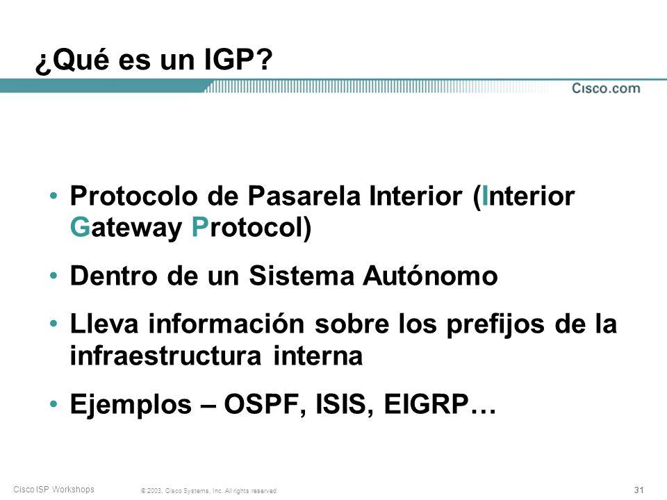 30 © 2003, Cisco Systems, Inc. All rights reserved. Cisco ISP Workshops Consideraciones sobre las Políticas de Enrutamiento 120000 prefijos (no es rea