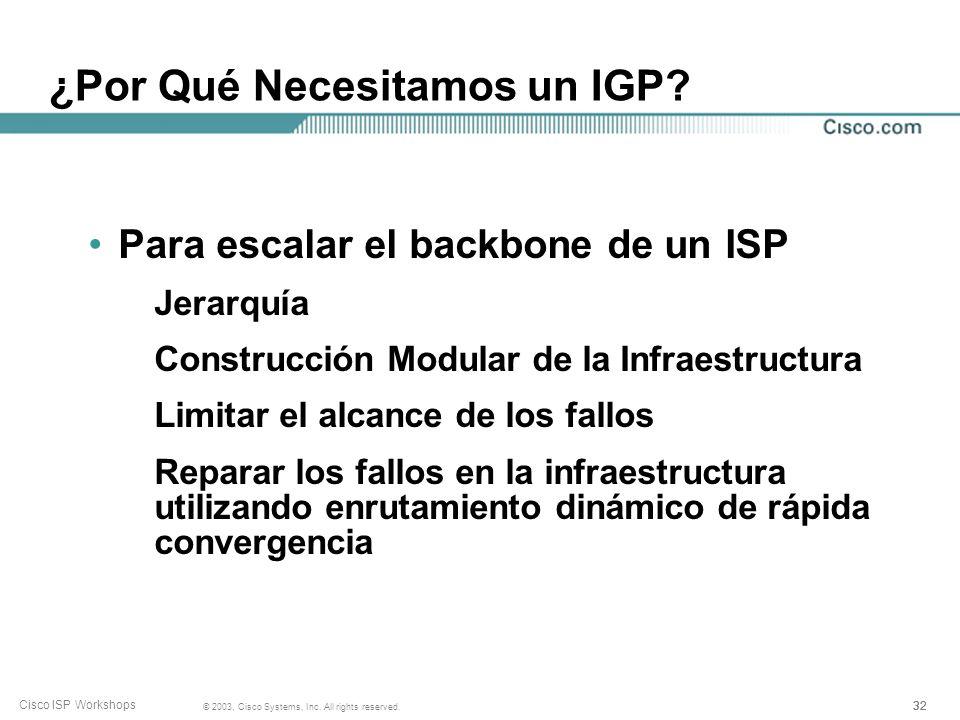 31 © 2003, Cisco Systems, Inc. All rights reserved. Cisco ISP Workshops ¿Qué es un IGP? Protocolo de Pasarela Interior (Interior Gateway Protocol) Den