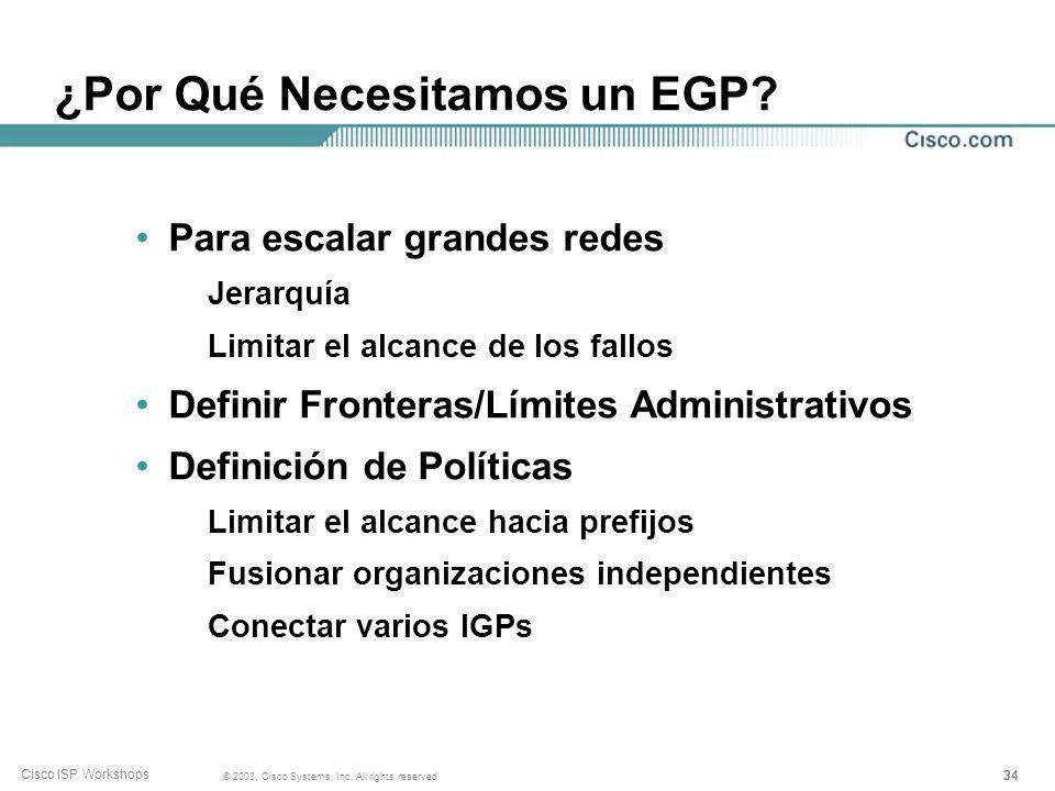 33 © 2003, Cisco Systems, Inc. All rights reserved. Cisco ISP Workshops ¿Qué es un EGP? Protocolo de Portal Exterior (Exterior Gateway Protocol) Utili