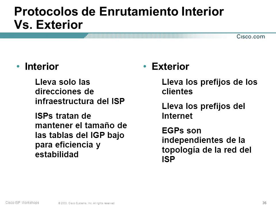 35 © 2003, Cisco Systems, Inc. All rights reserved. Cisco ISP Workshops Protocolos de Enrutamiento Interior Vs. Exterior Interior Descubrimiento autom