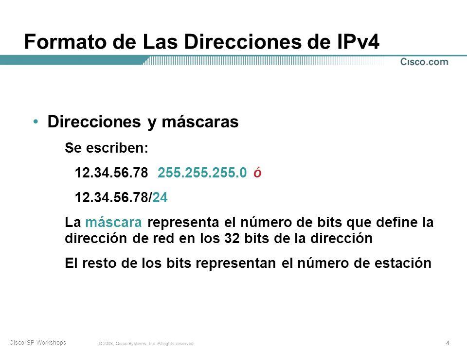 333 © 2003, Cisco Systems, Inc. All rights reserved. Cisco ISP Workshops IPv4 Internet utiliza IPv4 Direcciones de 32 bits En el rango de 1.0.0.0 a 22