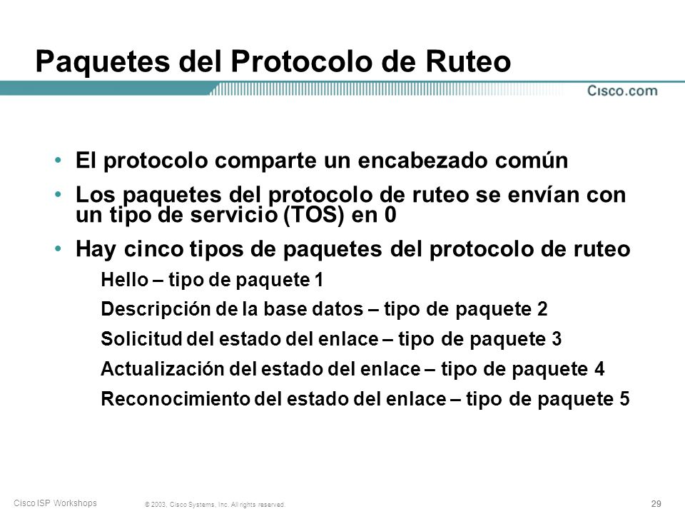 29 © 2003, Cisco Systems, Inc. All rights reserved. Cisco ISP Workshops Paquetes del Protocolo de Ruteo El protocolo comparte un encabezado común Los