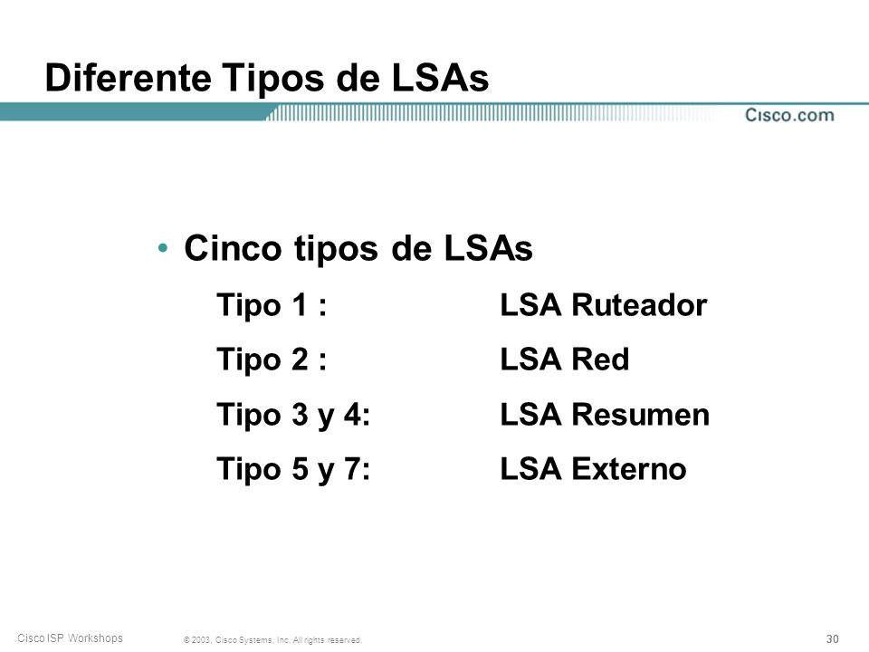30 © 2003, Cisco Systems, Inc. All rights reserved. Cisco ISP Workshops Diferente Tipos de LSAs Cinco tipos de LSAs Tipo 1 : LSA Ruteador Tipo 2 : LSA