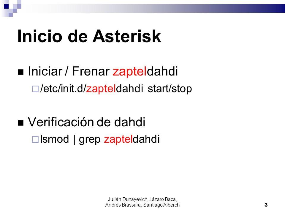 Julián Dunayevich, Lázaro Baca, Andrés Brassara, Santiago Alberch4 Inicio de Asterisk Asterisk es un demonio (daemon) que se ejecuta en segundo plano.