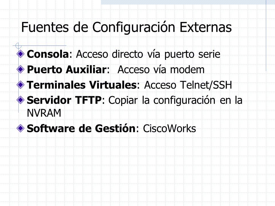Fuentes de Configuración Externas Consola: Acceso directo vía puerto serie Puerto Auxiliar: Acceso vía modem Terminales Virtuales: Acceso Telnet/SSH S