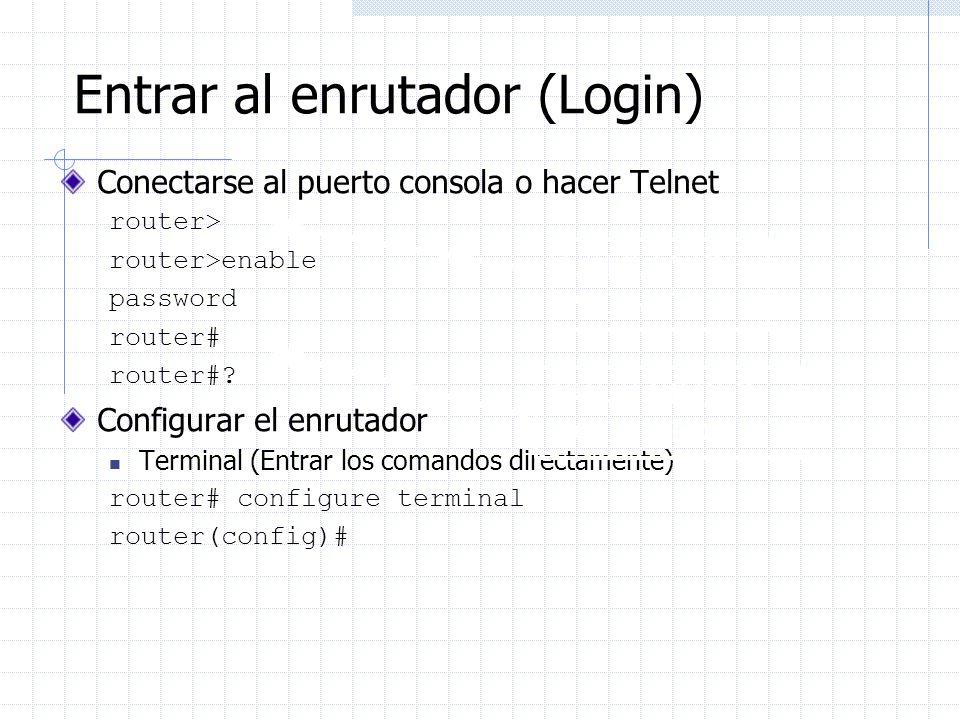 Entrar al enrutador (Login) Conectarse al puerto consola o hacer Telnet router> router>enable password router# router#? Configurar el enrutador Termin