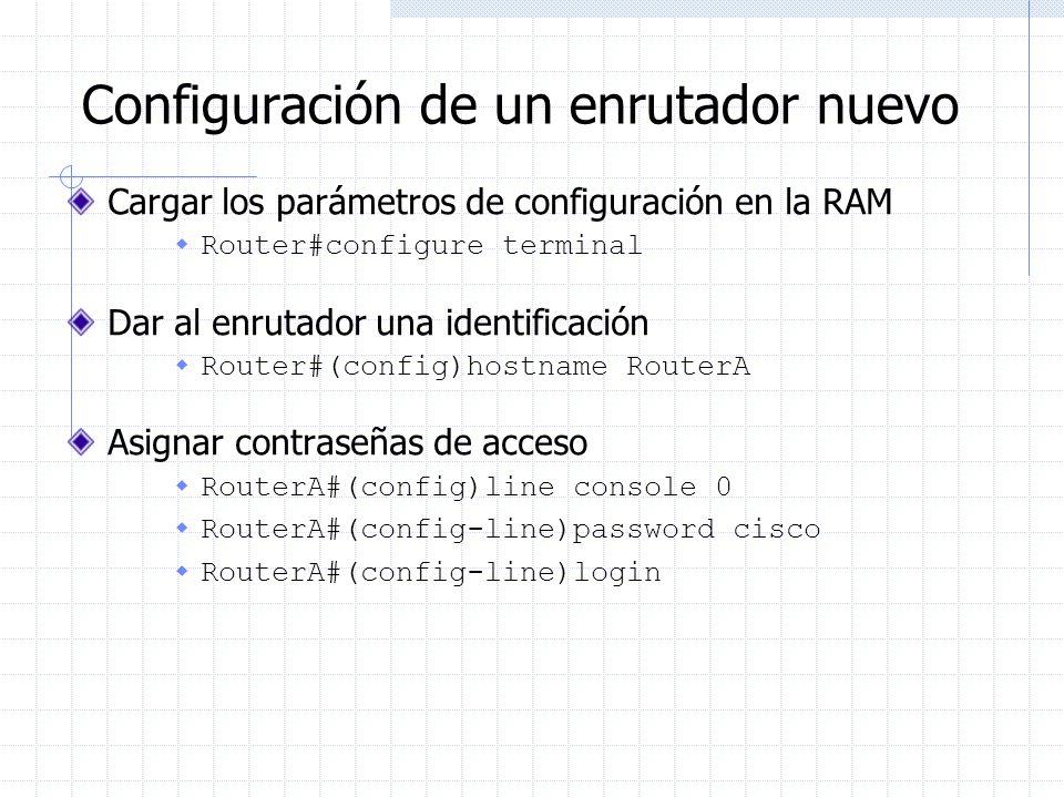 Configuración de un enrutador nuevo Cargar los parámetros de configuración en la RAM Router#configure terminal Dar al enrutador una identificación Rou