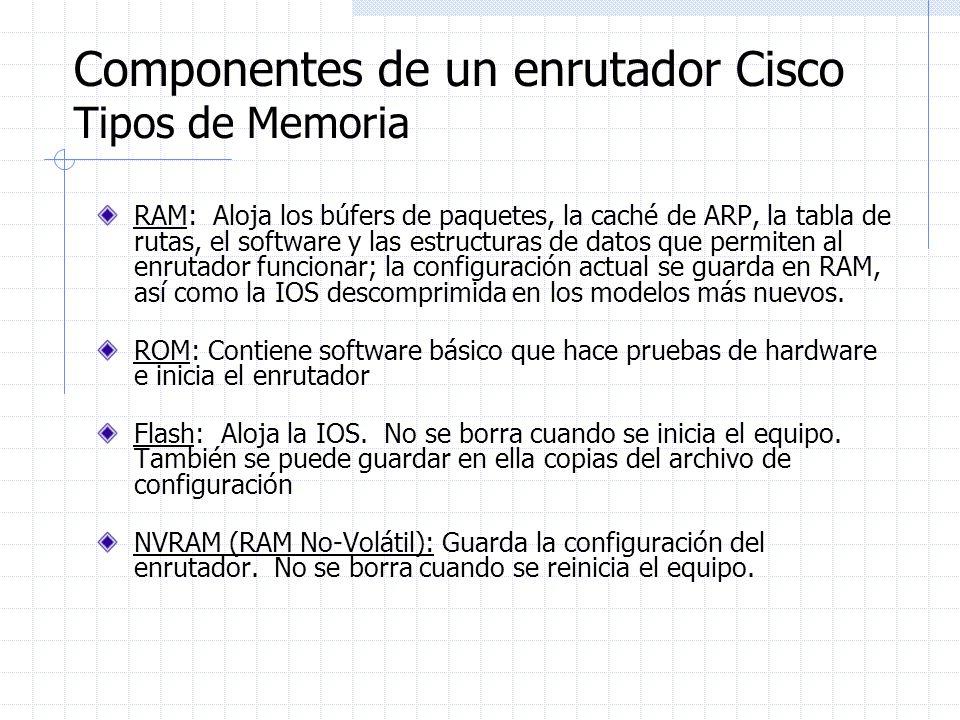 Componentes de un enrutador Cisco Tipos de Memoria RAM: Aloja los búfers de paquetes, la caché de ARP, la tabla de rutas, el software y las estructura