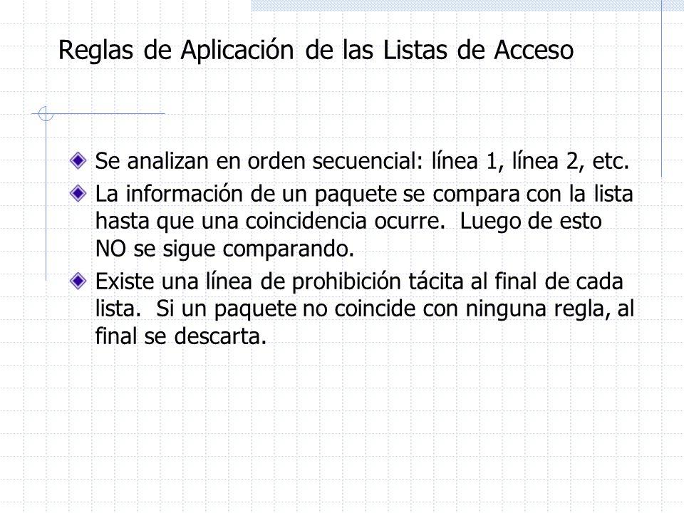 Reglas de Aplicación de las Listas de Acceso Se analizan en orden secuencial: línea 1, línea 2, etc. La información de un paquete se compara con la li