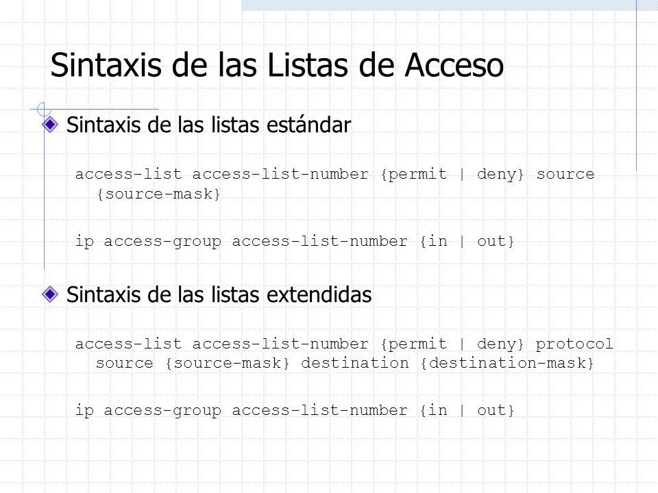 Sintaxis de las Listas de Acceso Sintaxis de las listas estándar access-list access-list-number {permit | deny} source {source-mask} ip access-group a