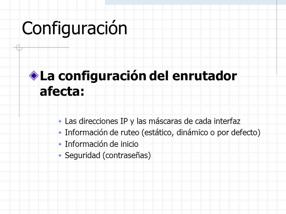 Configuración Global Los comandos de configuración globales son independientes de interfaces o protocolos específicos hostname router1 enable-password cisco service password-encryption logging facility local0 logging n.n.n.n