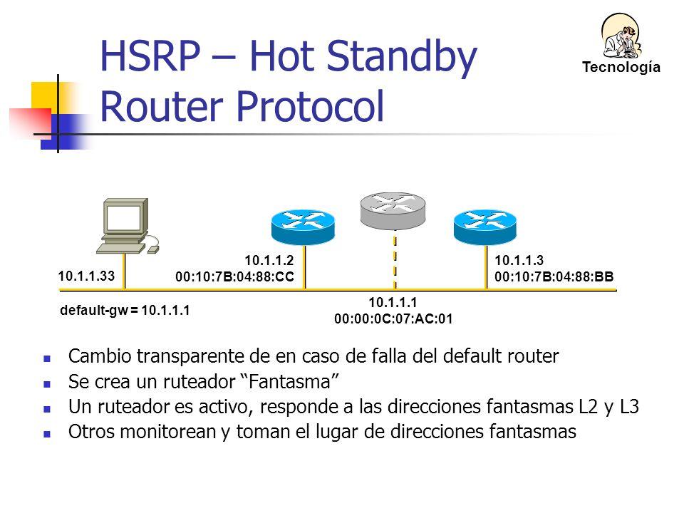 10.1.1.3 00:10:7B:04:88:BB 10.1.1.33 10.1.1.1 00:00:0C:07:AC:01 10.1.1.2 00:10:7B:04:88:CC default-gw = 10.1.1.1 HSRP – Hot Standby Router Protocol Ca