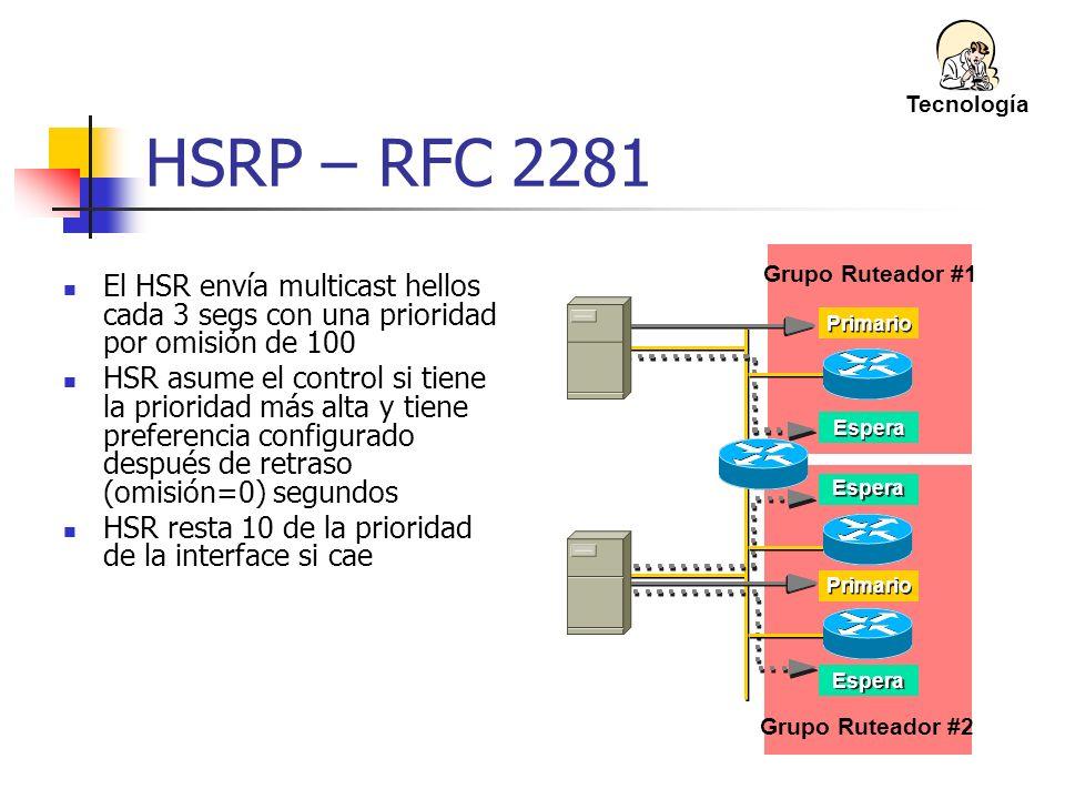 Grupo Ruteador #1 Grupo Ruteador #2 Espera Primario HSRP – RFC 2281 El HSR envía multicast hellos cada 3 segs con una prioridad por omisión de 100 HSR
