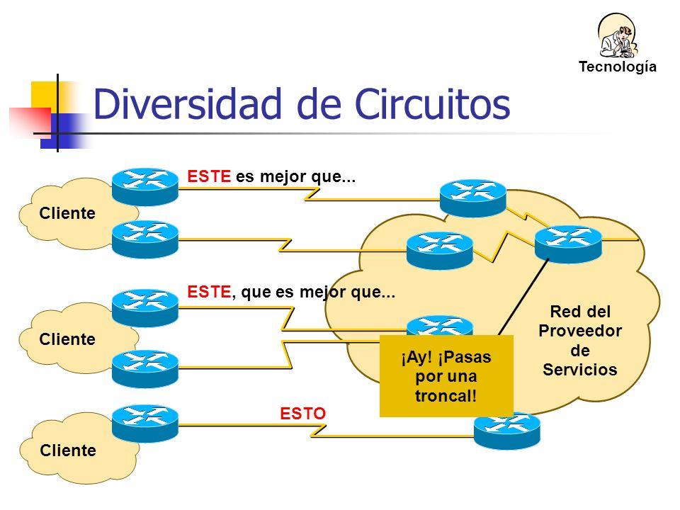 Red del Proveedor de Servicios Diversidad de Circuitos Cliente ESTE es mejor que... Tecnología Cliente ESTE, que es mejor que... Cliente ESTO ¡Ay! ¡Pa