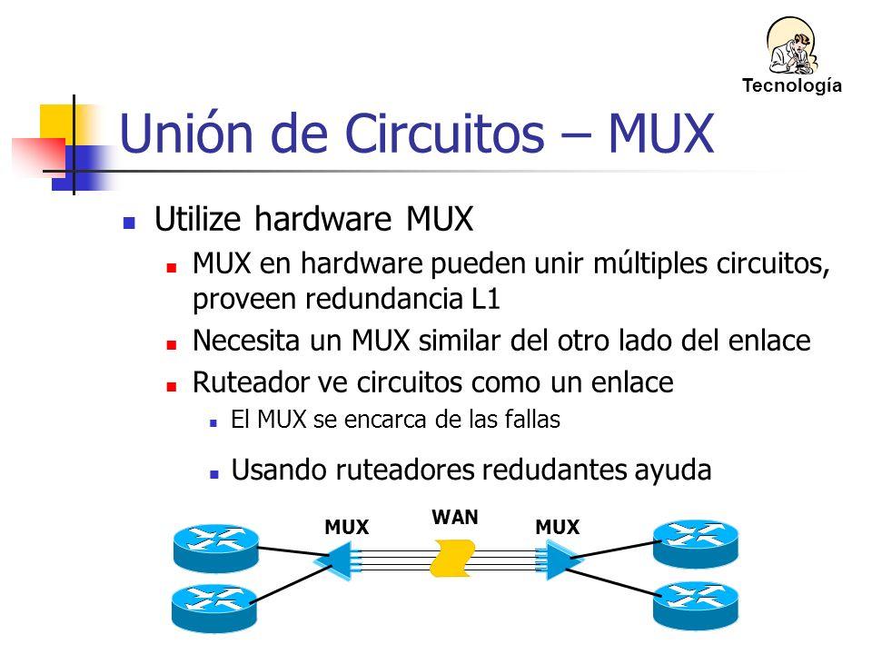 Unión de Circuitos – MUX Utilize hardware MUX MUX en hardware pueden unir múltiples circuitos, proveen redundancia L1 Necesita un MUX similar del otro