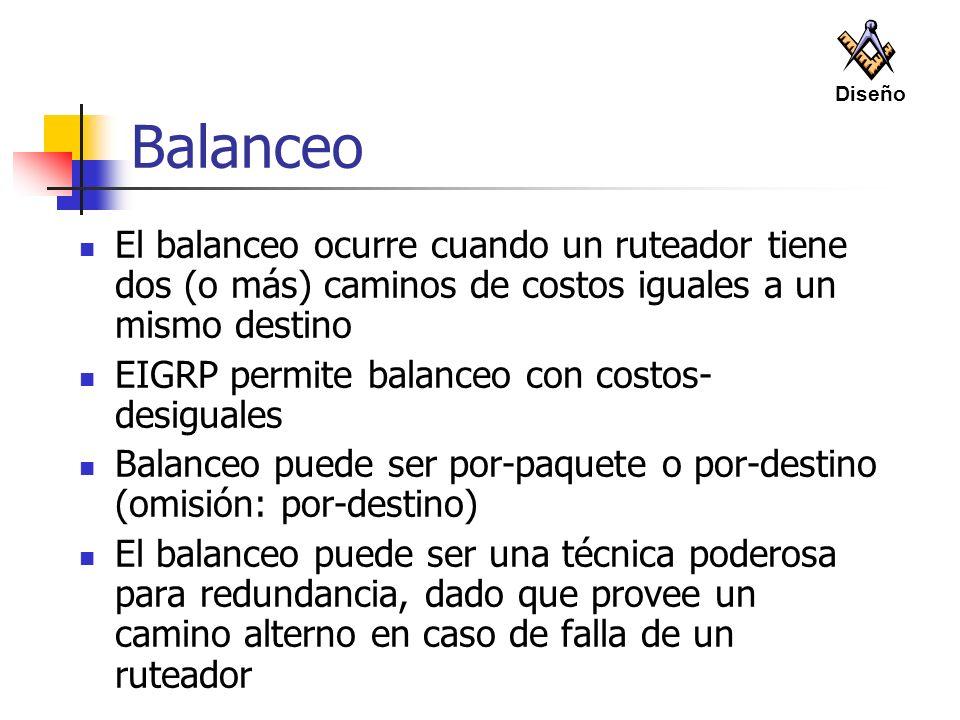Balanceo El balanceo ocurre cuando un ruteador tiene dos (o más) caminos de costos iguales a un mismo destino EIGRP permite balanceo con costos- desig