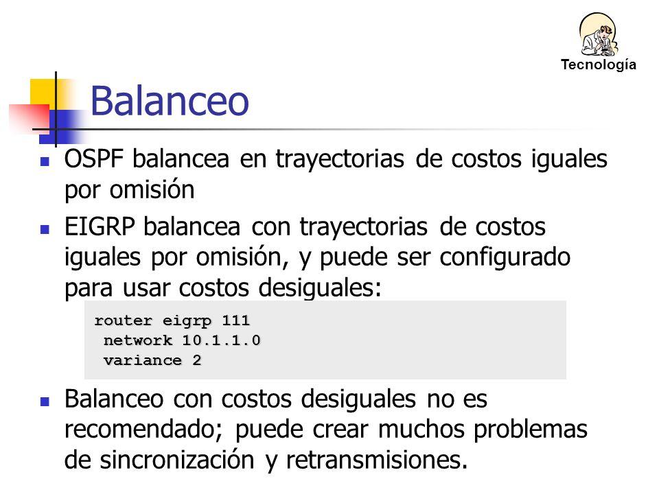 OSPF balancea en trayectorias de costos iguales por omisión EIGRP balancea con trayectorias de costos iguales por omisión, y puede ser configurado par