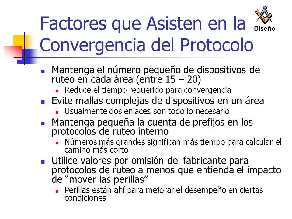 Factores que Asisten en la Convergencia del Protocolo Mantenga el número pequeño de dispositivos de ruteo en cada área (entre 15 – 20) Reduce el tiemp