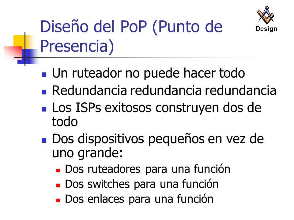 Diseño del PoP (Punto de Presencia) Un ruteador no puede hacer todo Redundancia redundancia redundancia Los ISPs exitosos construyen dos de todo Dos d