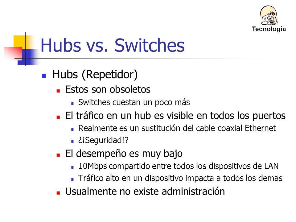 Hubs vs. Switches Hubs (Repetidor) Estos son obsoletos Switches cuestan un poco más El tráfico en un hub es visible en todos los puertos Realmente es
