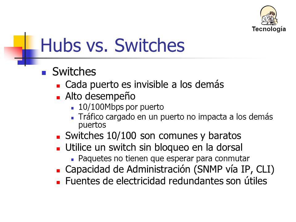 Hubs vs. Switches Switches Cada puerto es invisible a los demás Alto desempeño 10/100Mbps por puerto Tráfico cargado en un puerto no impacta a los dem